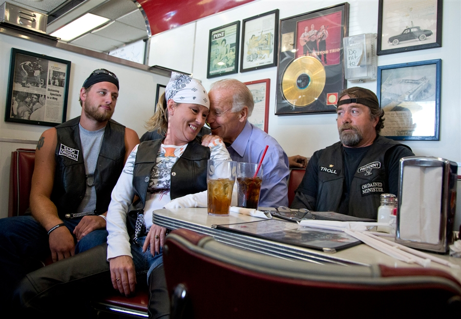 Vice President Joe Biden talks to customers during a stop at Cruisers Diner, Sept. 9, in Seaman, Ohio.